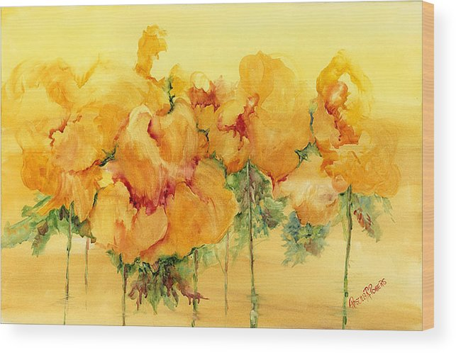 Flowers Wood Print featuring the painting Multiple Choice by Priscilla Powers