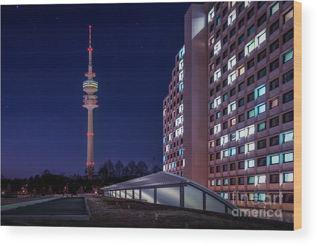 Bavaria Wood Print featuring the photograph Munich - Olympictower And Village by Hannes Cmarits