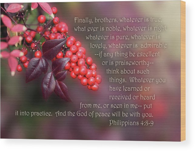 Scripture Wood Print featuring the photograph Nandina Berries Phil.4 V 8-9 by Linda Phelps