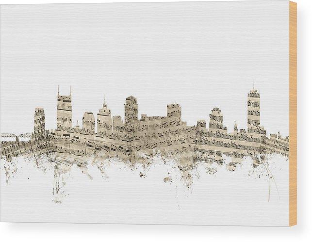 Nashville Wood Print featuring the digital art Nashville Tennessee Skyline Sheet Music by Michael Tompsett