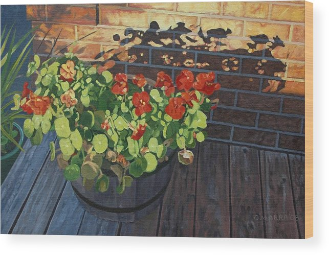Flowers Wood Print featuring the painting Nasturtiums In Late Light by Allan OMarra