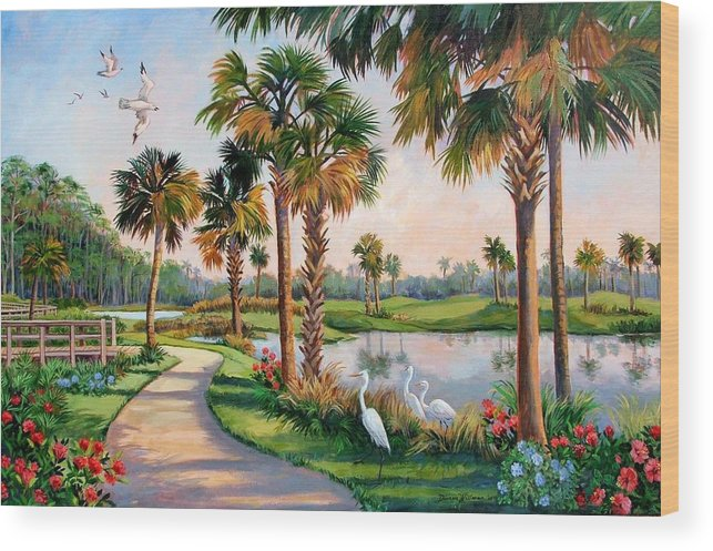 Landscape Wood Print featuring the painting Nature Preserve by Dianna Willman