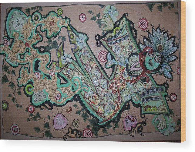 Figure Wood Print featuring the painting Nature Woman Paper Doll by Sandra fw Beaty