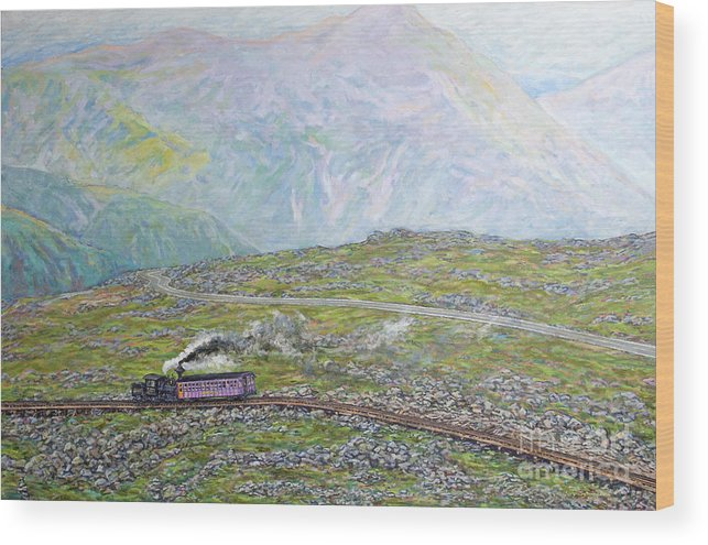 Train Wood Print featuring the painting Near The Top by Gary Symington