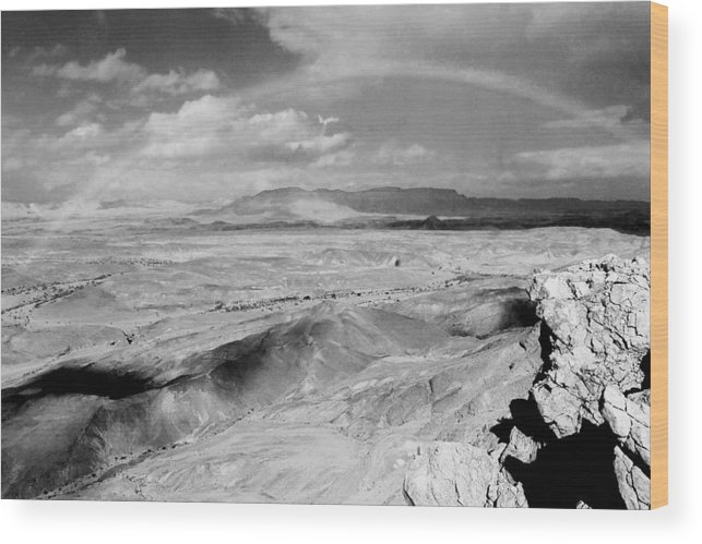 Neghev Wood Print featuring the photograph Neghev Desert Rainbow 1 by Art Nomad Sandra Hansen