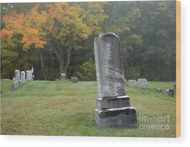 Graveyard Wood Print featuring the photograph New England Graveyard During The Autumn by Erin Paul Donovan