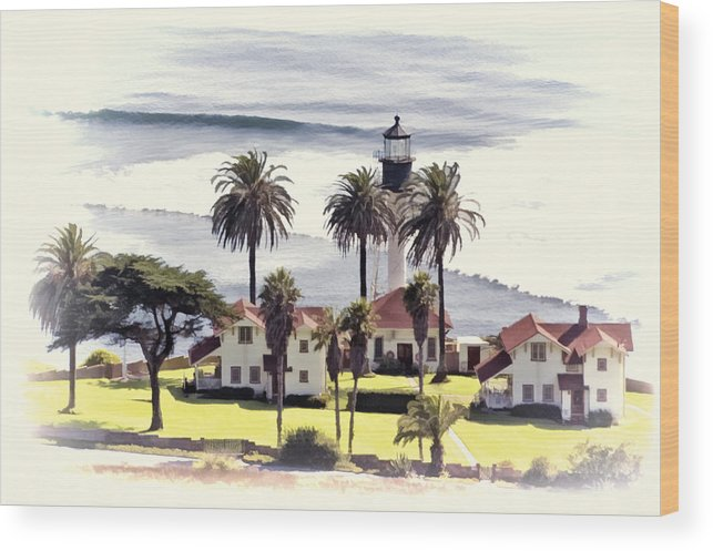 San Diego Wood Print featuring the photograph New Point Loma Lighthouse by Claude LeTien
