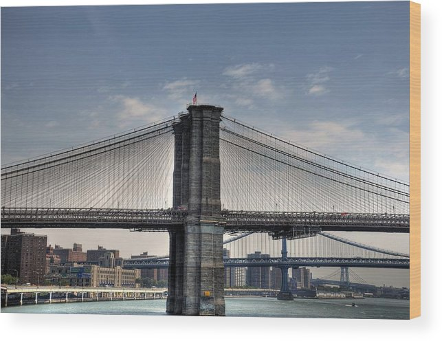 Photograph Wood Print featuring the photograph New York Bridges by Kelly Wade
