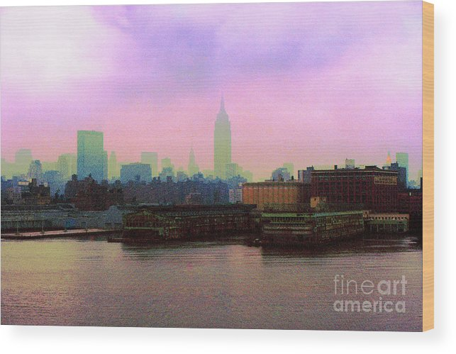 Hoboken Wood Print featuring the digital art New York City From Hoboken by Anthony C Ellis