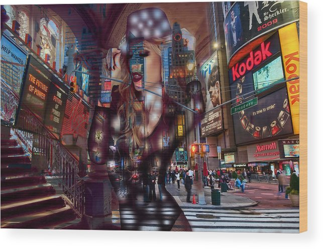 New York Art Wood Print featuring the mixed media New York New York by Marvin Blaine