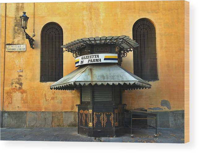 Architecture Wood Print featuring the photograph Newsstand - Parma - Italy by Silvia Ganora