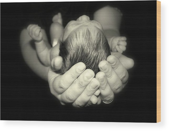Baby Wood Print featuring the photograph Nicholas In Good Hands by Kerry Reed