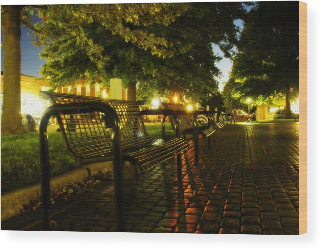 Night Wood Print featuring the photograph Night Bench by Carl Perry