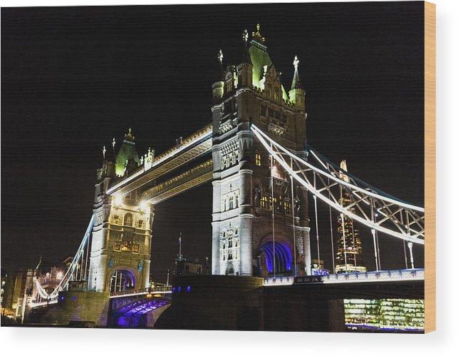 Bridge Wood Print featuring the photograph Night Crossing by Robert Stasio