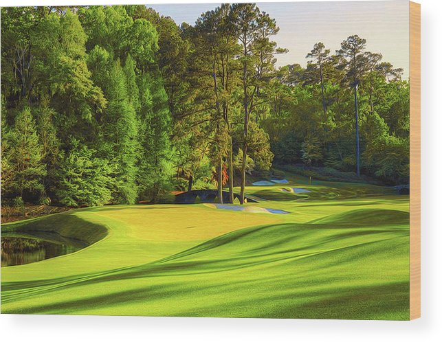 Home Art Wood Print featuring the digital art No. 11 White Dogwood 505 Yards Par 4 by Don Kuing