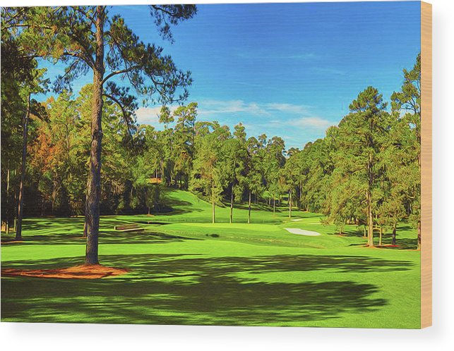 Home Art Wood Print featuring the digital art No. 15  Fire Thorn 530 Yards Par 5 by Don Kuing