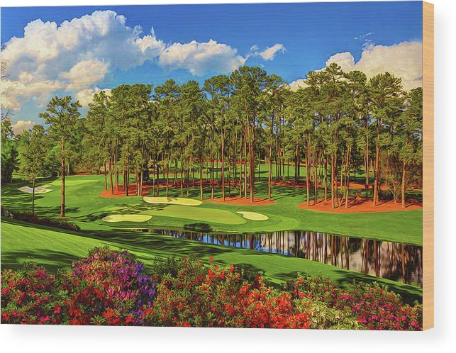 Home Art Wood Print featuring the digital art No. 16 Redbud 170 Yards Par 3 by Don Kuing