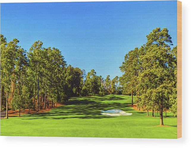 Home Art Wood Print featuring the digital art No. 8 Yellow - Jasmine 570 Yards Par 5 by Don Kuing