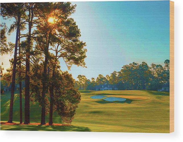 Home Art Wood Print featuring the digital art No. 9 Carolina Cherry 460 Yards Par 4 by Don Kuing