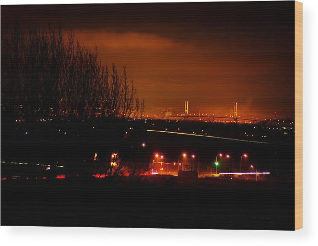 Night Wood Print featuring the photograph Nocturnal Highway by Paul Kloschinsky