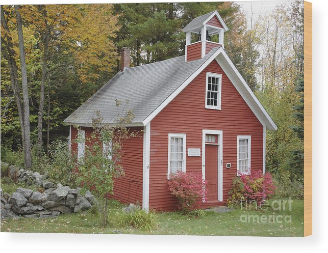 New Hampshire Wood Print featuring the photograph North District School House - Dorchester New Hampshire by Erin Paul Donovan