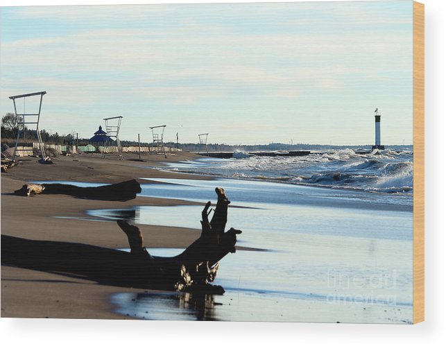 Grand Bend Wood Print featuring the photograph Not A Soul Grand Bend by John Scatcherd