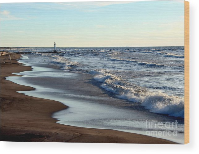 Grand Bend Wood Print featuring the photograph Not A Soul Grand Bend 3 by John Scatcherd