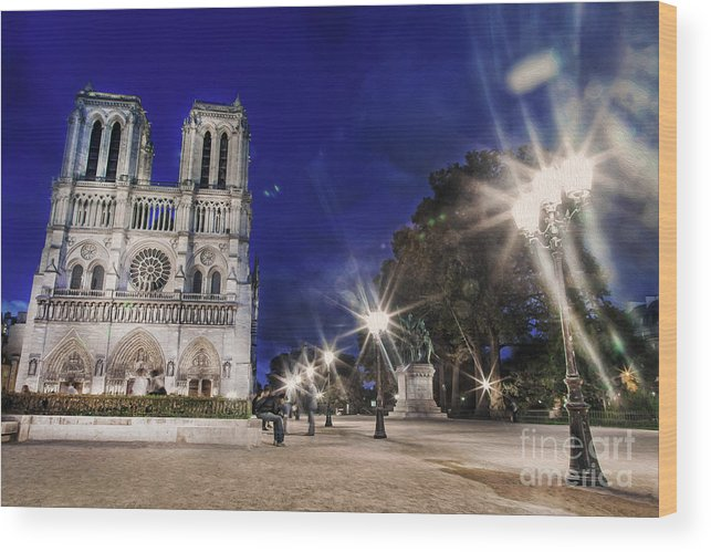 Notre Dame Cathedral Wood Print featuring the photograph Notre Dame Cathedral Paris 2 by Alex Art and Photo