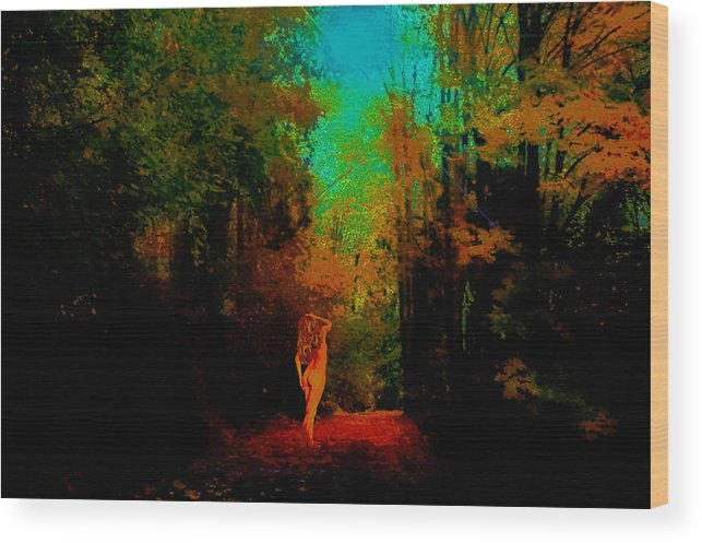 Wood Print featuring the photograph Nude In The Forest by Jeff Burgess