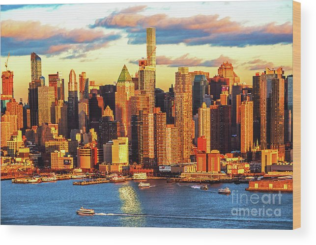 Ny Skyline Sundown Wood Print featuring the photograph Nyc West Side Skyscrapers At Sundown by Regina Geoghan