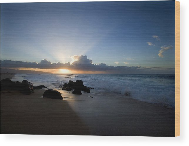 Ocean Wood Print featuring the photograph Oahu Sunset by Brad Rickerby