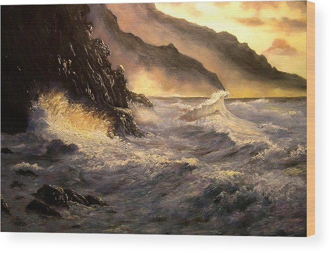 Connie Tom Wood Print featuring the painting Ocean Waves by Connie Tom