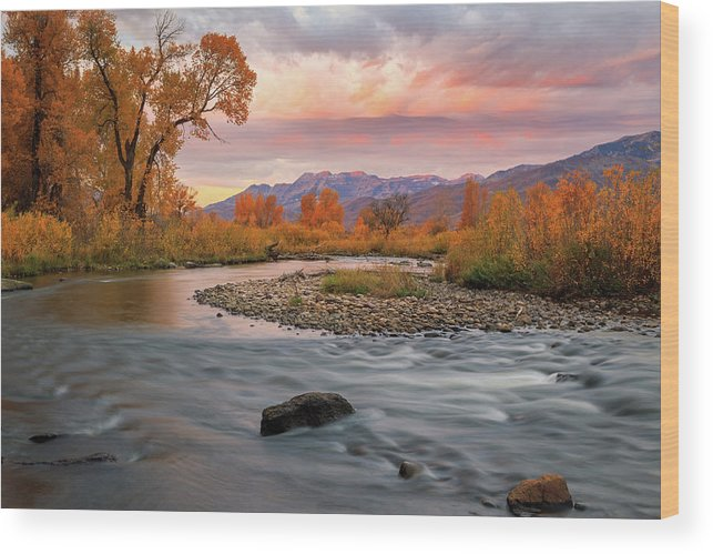 Autumn Wood Print featuring the photograph October Sunrise At The Provo River. by Johnny Adolphson