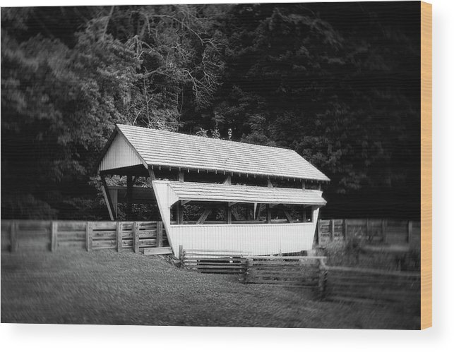 Architecture Wood Print featuring the photograph Ohio Covered Bridge In Black And White by Tom Mc Nemar