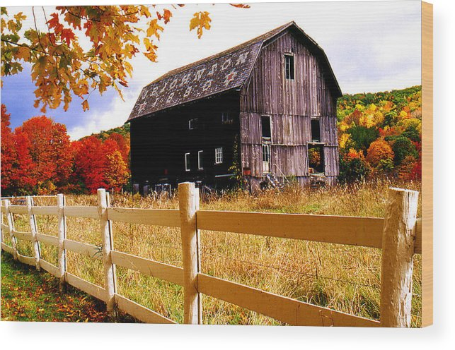 Rural Wood Print featuring the photograph Old Barn In Autumn by Roger Soule