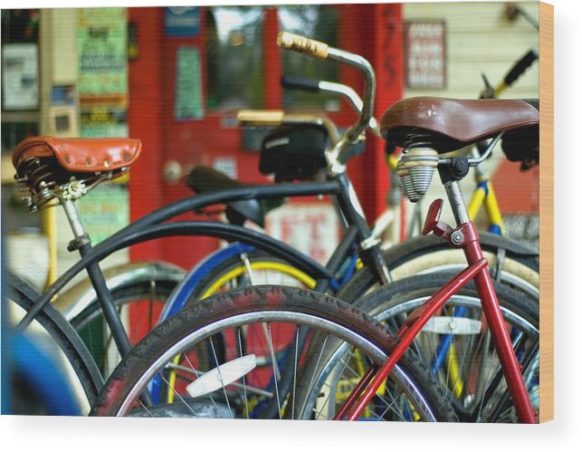 Red Wood Print featuring the photograph Old Bikes by John Gusky