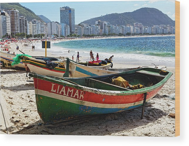 Bathing Wood Print featuring the photograph Old Fishing Boats On Copacabana Beach by George Oze