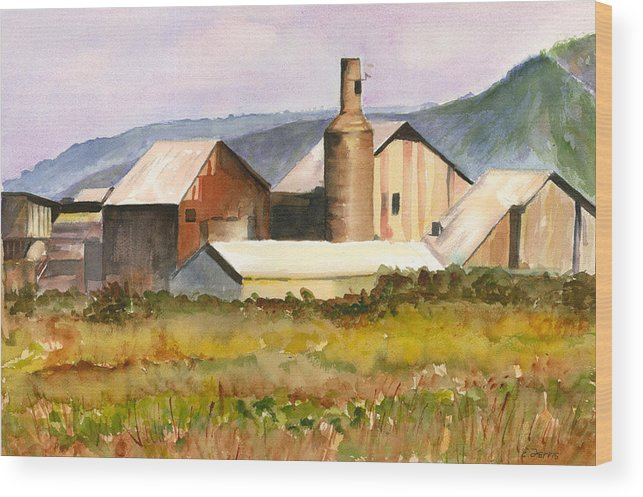 Kauai Wood Print featuring the painting Old Koloa Sugar Mill by Elizabeth Ferris