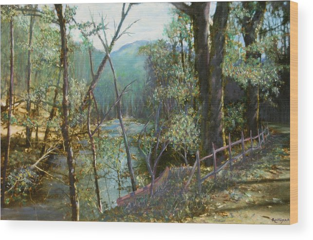 River; Trees; Landscape Wood Print featuring the painting Old Man River by Ben Kiger