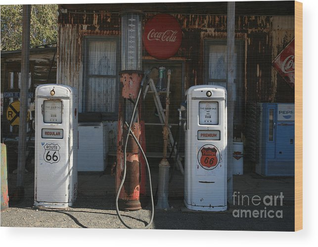 Old Wood Print featuring the photograph Old Route 66 Gas Station by Timothy Johnson