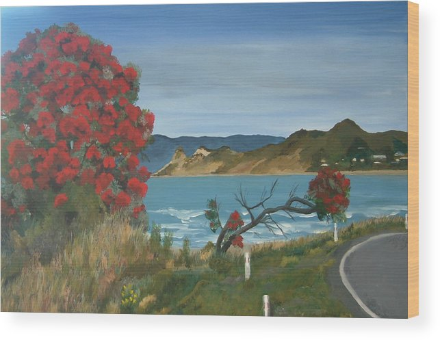 Coastal Landscape Native Tree Wainui Beach Iconic Surf Vibrant New Zealand Pohutukawa Tree Flora Wood Print featuring the painting On The Edge by Sher Green