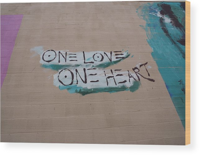 Wall Art Wood Print featuring the photograph One Love One Heart by Deborah Napelitano
