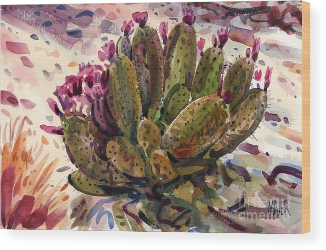 Opuntia Cactus Wood Print featuring the painting Opuntia Cactus by Donald Maier