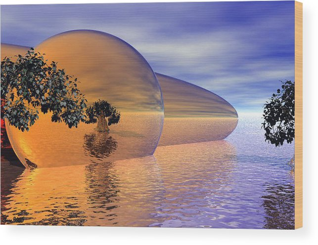 Digitalart Wood Print featuring the digital art Orange Blossom Special by Wayne Bonney