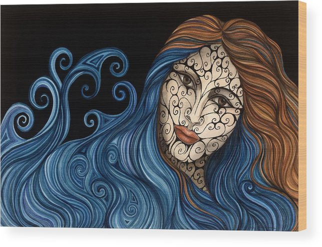 Figurative Wood Print featuring the painting Out Of The Blue by Tina Blondell
