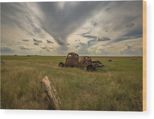 Kansas Wood Print featuring the photograph Out To Pasture by Chris Harris