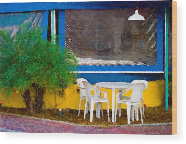 Table Wood Print featuring the painting Outdoor Cafe by Peter J Sucy