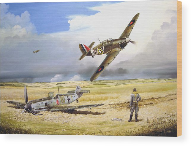 Painting Wood Print featuring the painting Outgunned by Marc Stewart