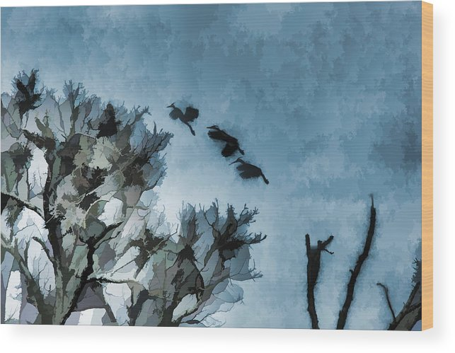 Cranes Wood Print featuring the photograph Painted Cranes by Melvin Busch