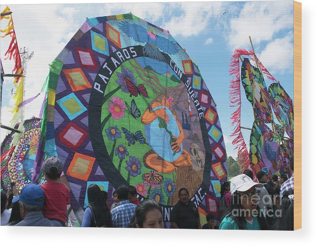 Sumpango Giant Kite Festival Wood Print featuring the photograph Pajaros Giant Kite by Nettie Pena